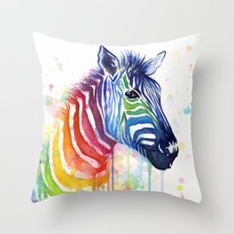 Zebra Rainbow Watercolor Whimsical Animal Throw Pillow