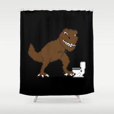 Jurassic Pixel Shower Curtain