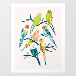 BOUNTIFUL BUDGIES Watercolor Parakeets Cream Art Print