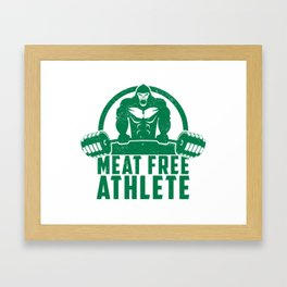 Meat Free Athlete Vegan Gorilla - Funny Workout Quote Gift Framed Art Print