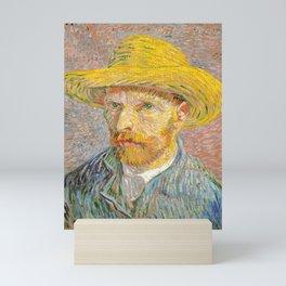 Self-Portrait with a Straw Hat - Vincent Van Gogh Mini Art Print