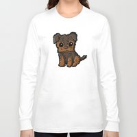 caleb troy Long Sleeve T-shirts featuring Troy - Silky Terrier by Sylvester Pyke