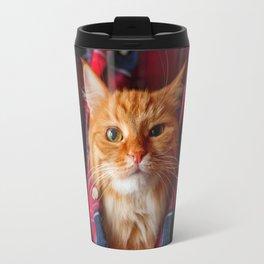 Cute and brash ginger cat in tartan shirt Travel Mug