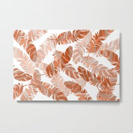 coral Feathers white background Metal Print