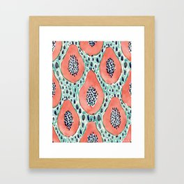 PAPAYA PARTY Tropical Fruit Print Framed Art Print