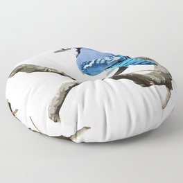 Blue Jay in Branches Floor Pillow