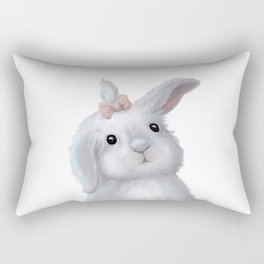 White Rabbit Girl isolated Rectangular Pillow