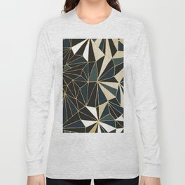 New Art Deco Geometric Pattern - Emerald green and Gold Long Sleeve T-shirt