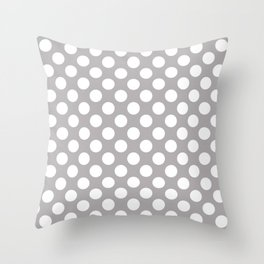 Polka Dots, Spots (Dotted Pattern) - Gray White Throw Pillow