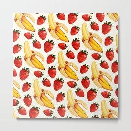Strawberry Banana Pattern - White Metal Print