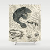 manatee Shower Curtains featuring Manatee by Cassidy Tebeau