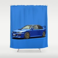 subaru Shower Curtains featuring Subaru Impreza 22B STI Type UK Sonic Blue by Digital Car Art