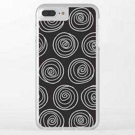 Hand Drawn Spirals Pattern (black) Clear iPhone Case