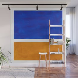 Phthalo Blue Yellow Ochre Mid Century Modern Abstract Minimalist Rothko Color Field Squares Wall Mural