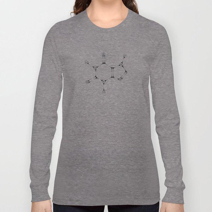 Caffeine Molecule - Black Ink Long Sleeve T-shirt