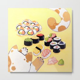 Sushi+cats=yes Metal Print