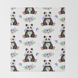 Garden Panda Throw Blanket