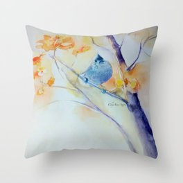 Nuthatch Aspen Morning Looking Up watercolour by CheyAnne Sexton Throw Pillow
