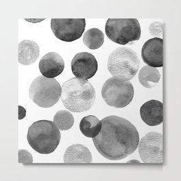 Black and Silver Bubbles Metal Print