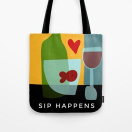 Goldfishes love red wine- with funny caption Tote Bag