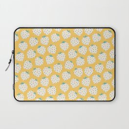 Cute round white strawberries on yellow. Laptop Sleeve