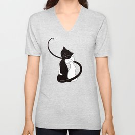 White And Black Cats In Love (red) Unisex V-Neck