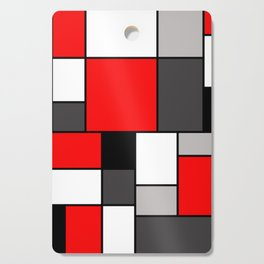 Red Black and Grey squares Cutting Board