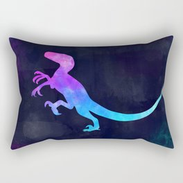 VELOCIRAPTOR IN SPACE // Dinosaur Graphic Art // Watercolor Canvas Painting // Modern Minimal Cute Rectangular Pillow