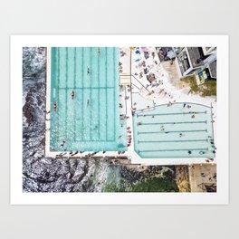 Summer Swim at Icebergs, Bondi Beach Art Print