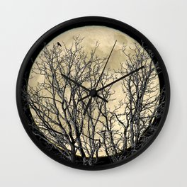 Tree with Crow Against Full Moon A181 Wall Clock