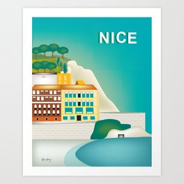 Nice, France - Skyline Illustration by Loose Petal Art Print