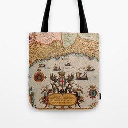 Map Of Genoa 1608 Tote Bag