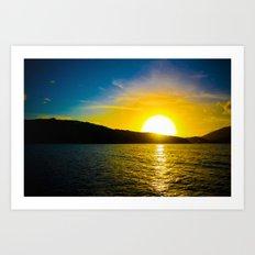 Sunset over the Sea Art Print