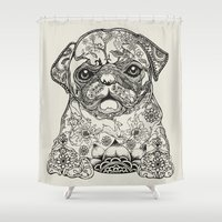 persian Shower Curtains featuring Persian Pug by Huebucket