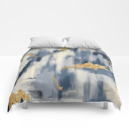 Blue and Gold Ikat Pattern Abstract Comforters