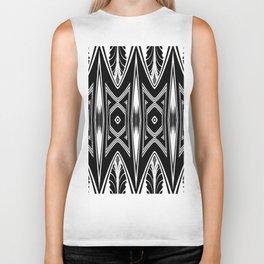 Tribal Black and White African-Inspired Pattern Biker Tank