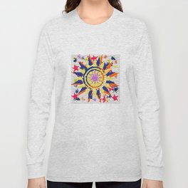 Colorful Quilted sun pattern Abstract Long Sleeve T-shirt