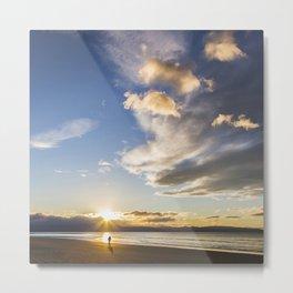 Sunset at Tahuna Beach, New Zealand Metal Print