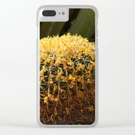 Barrel Cactus Covered In Butter Yellow Palo Brea Blossoms in Landscape Clear iPhone Case