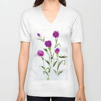 freud V-neck T-shirts featuring You Know What Freud Said About Carnations by Kate Havekost Fine Art