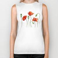 poppies Biker Tanks featuring Poppies by Julia Badeeva