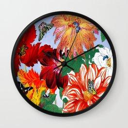 Dazzlin' Dahlias, Tulips, B'flies Wall Clock