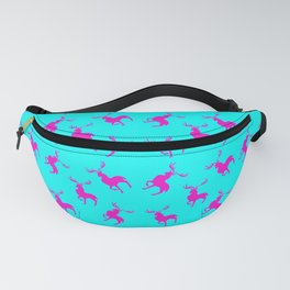 Pink moose silhouettes against cyan blue background pattern design Fanny Pack