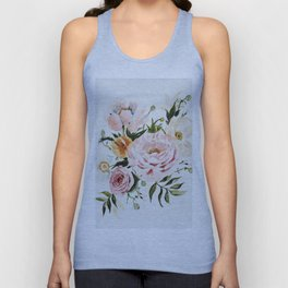 Loose Peonies & Poppies Floral Bouquet Unisex Tank Top