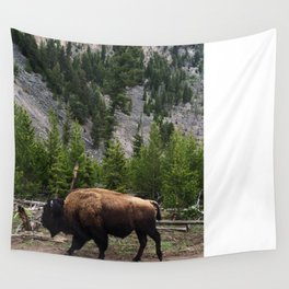 Bison Roaming Wall Tapestry