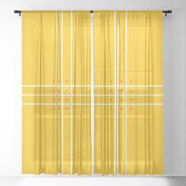 Fine Lined Cross on Yellow Sheer Curtain