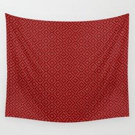 Persimmon Hitomezashi Sashiko - White on Red Wall Tapestry