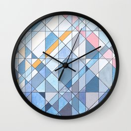 Triangle Pattern no.17 Light Blues Wall Clock