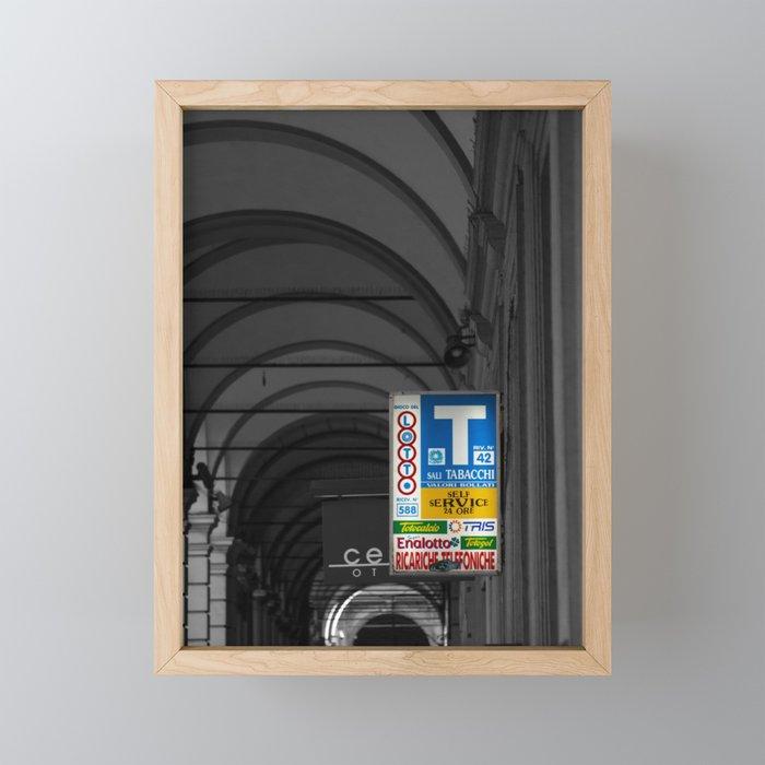 Blue Tabacchi Lotto Bologna Sign Black and White Photography Framed Mini Art Print