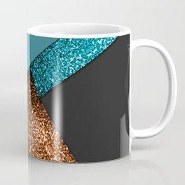 Aqua blue and bronze sparkles modern color block art Coffee Mug